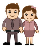 Husband Wife Standing Together - Vector Character Illustration — Stock Vector