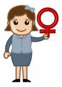 Kobieta kobieta symbol seksu - wektor charakter ilustracja kreskówka — Wektor stockowy