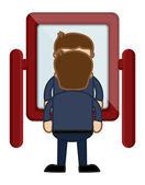 Looking at Mirror - Vector Character Cartoon Illustration — Vector de stock