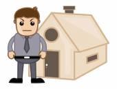 Uomo arrabbiato fuori un'illustrazione di cartone animato casa - immobiliare concetto - carattere vettoriale — Vettoriale Stock