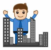 Buildings - Real Estate Concept - Vector Character Cartoon Illustration — Stock Vector