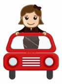 Cartoon Vector - Girl in Red Car — Stock Vector