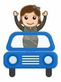 Cartoon Vector - Travelling in a Car — Stock Vector