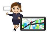 Girl Presenting GPS Device - Navigator — Stock Vector