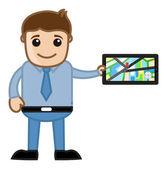Showing GPS Navigation System - Cartoon Vector Man — Stock Vector