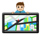 Man Behind GPS Device System - Maps Concept — Vettoriale Stock