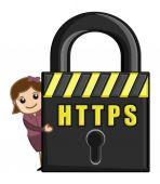 HTTPS - Cartoon Vector — Stock Vector