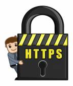 Https icon - cartoon vector — Stockvector