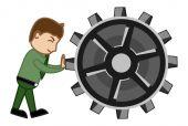 Trascinando l'ingranaggio - vettore di cartone animato — Vettoriale Stock