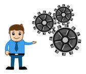 Gears - Process Concept - Cartoon Vector — Vettoriale Stock