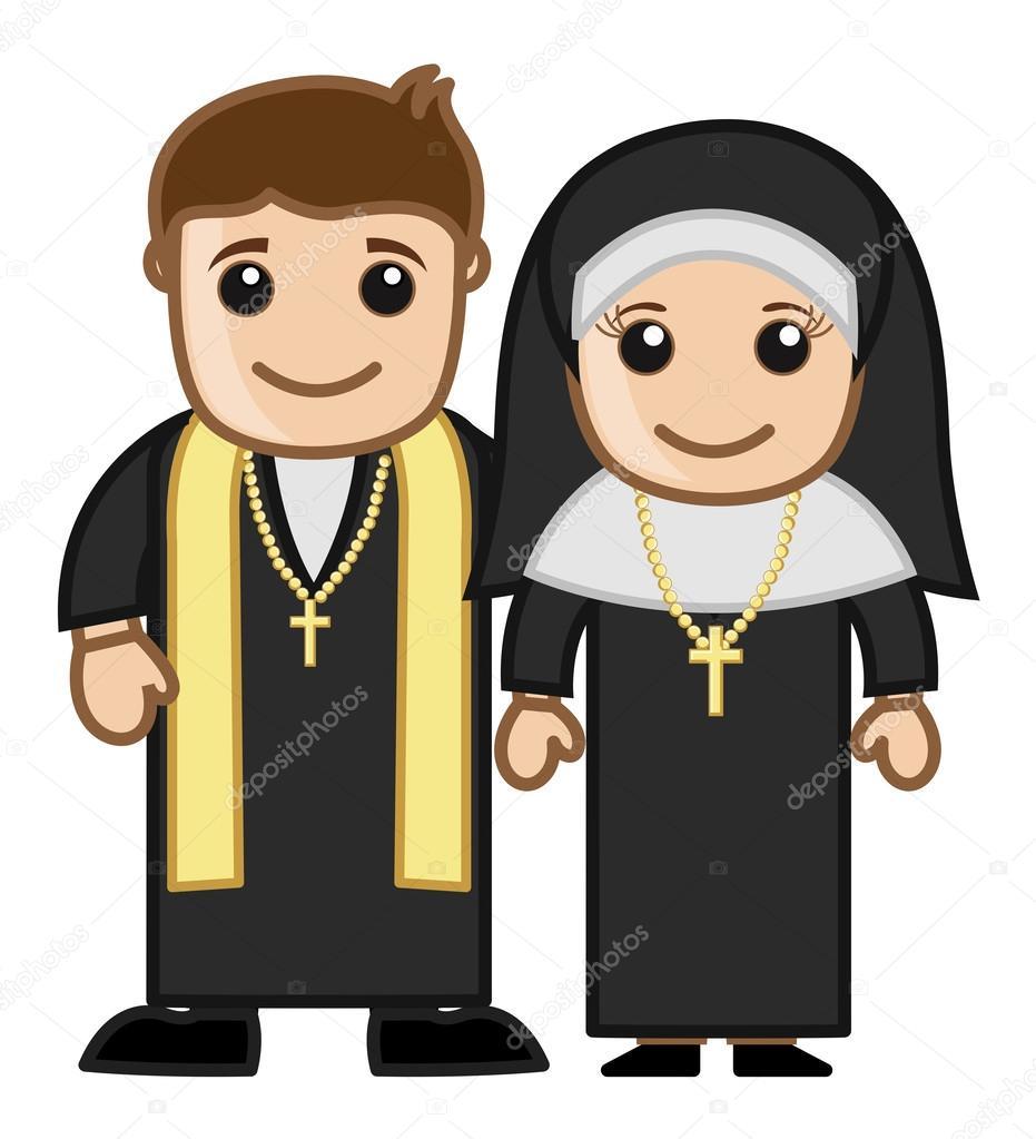 Sacerdote y monja vector personaje de dibujos animados ilustraci n archivo im genes - Stock cuisine saint priest ...