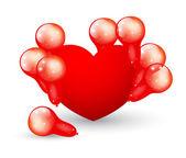 与气球的心 — 图库矢量图片