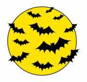Flying Bats in Moon Light Background — Vector de stock