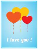 Valentine Balloons Greeting Card — Stock Vector