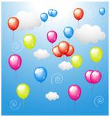 Colored Balloons with Clouds — Stock Vector