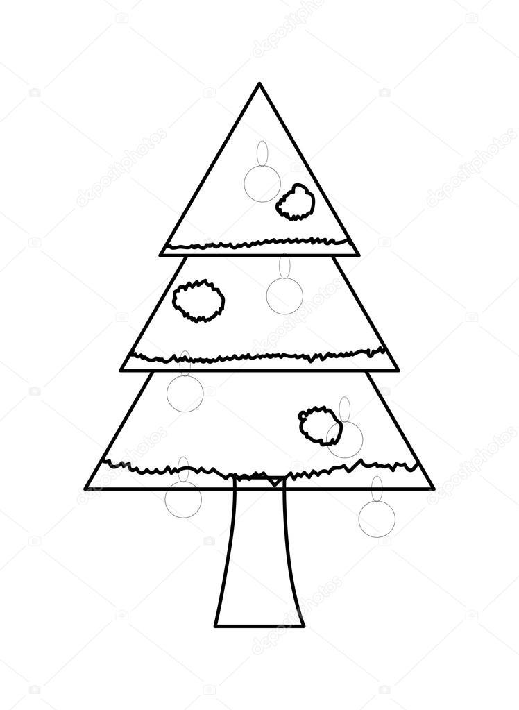 Christmas Tree Drawing Shape Stock Vector 169 Baavli 57106745