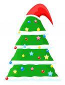 Noel Baba şapkası ile dekoratif Chtistmas ağacı — Stok Vektör