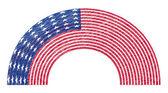 Rainbow Curve USA Flag — Stock Vector