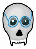 Scary Skull with Specs — Stock Vector