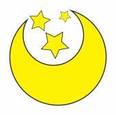 月亮和星星 — 图库矢量图片