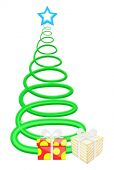 Spiral Christmas Tree with Gifts Boxes Vector — Stok Vektör