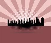 Cityscape Buildings Retro Background — 图库矢量图片