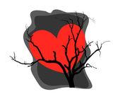 Heart Dead Tree Background — Stock Vector