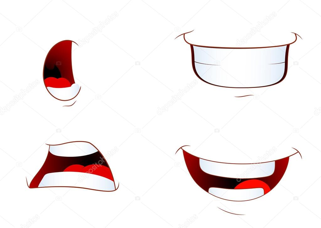 Cartoon Laughing Mouth Set of Cartoon Laughing Mouth Expressions Vector Illustration Vector by