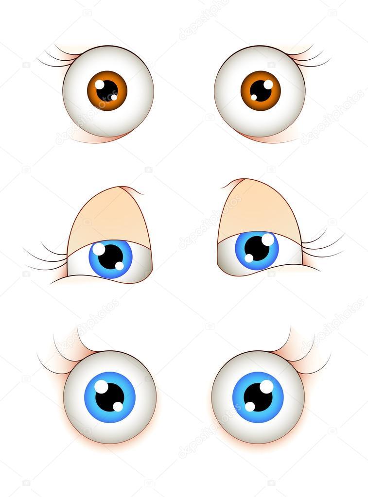 Cartone animato occhi femminili — vettoriale stock