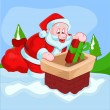 Santa Claus Dropping Gift in Chimney — Stock Vector #61235373