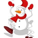 Funny Snowman Character Dancing — Stock Vector #61235761