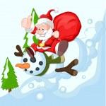 Happy Santa Claus Sliding on Snowman — Stock Vector #61235795