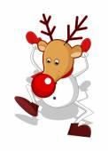 Funny Reindeer Snowman Dancing — Stock Vector