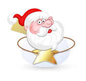 Surprised Santa with Gold Star — Stock Vector
