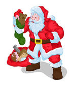 Old Santa Claus Holding Christmas Gift Toys — Stock Vector