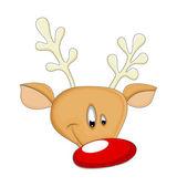 Funny Happy Reindeer Animal Face — Stock Vector