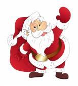 Old Santa Holding a Gift Bag — Stock Vector