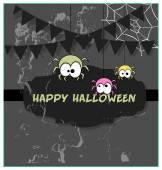 Funny Halloween Spiders Grunge Banner — Stock Vector
