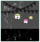 Funny Cartoon Halloween Spiders Grunge Background — Stock Vector