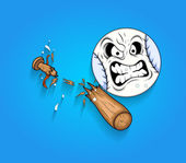 Angry Ball Face with Broken Wooden Baseball Bat Vector — Stock Vector