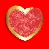Grunge Golden Texture Heart Banner — Stockvektor