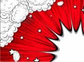 Holiday Bursting Clouds Stars Background — Vetor de Stock