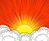 Retro Clouds Sunburst Background — Stock Vector