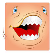 Angry Animal Attack Box Smiley Face — Stock Vector