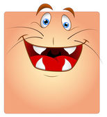 Laughing Animal Face Box Smiley — Stock Vector
