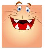 Animal Face Box Smiley di risata — Vettoriale Stock