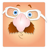 Surprised Funny Face with Eyeglasses Box Smiley — Vector de stock