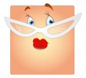 Female Face with Specs Box Smiley — Vector de stock