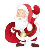 Santa Holding Gift Bag — Stock Vector