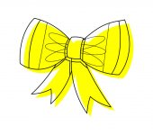 Yellow Ribbon Bow Vector Clipart Drawing — Stock Vector